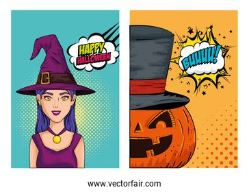 poster of halloween with woman and pumpkin style pop art