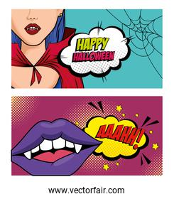 set of poster of halloween style pop art