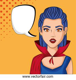 young woman disguised of vampire with speech bubble style pop art