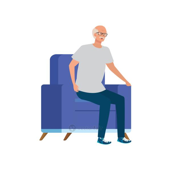 old man sitting in sofa avatar character