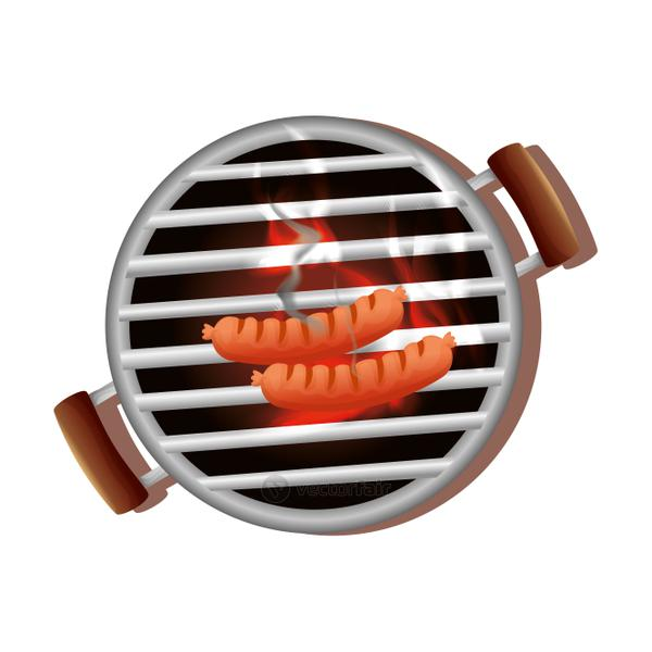 oven barbecue with sausages isolated icon