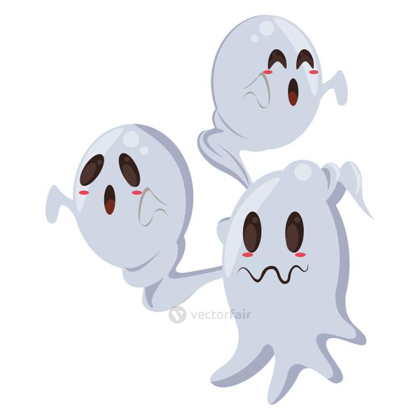halloween ghosts floating characters icon
