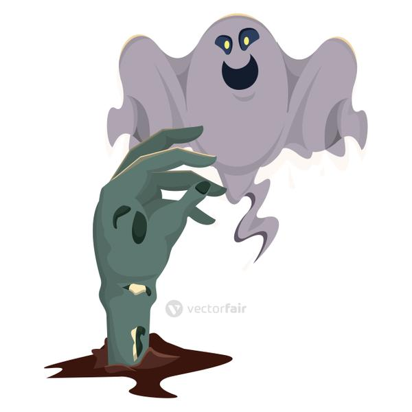 halloween ghost floating with zombie hand