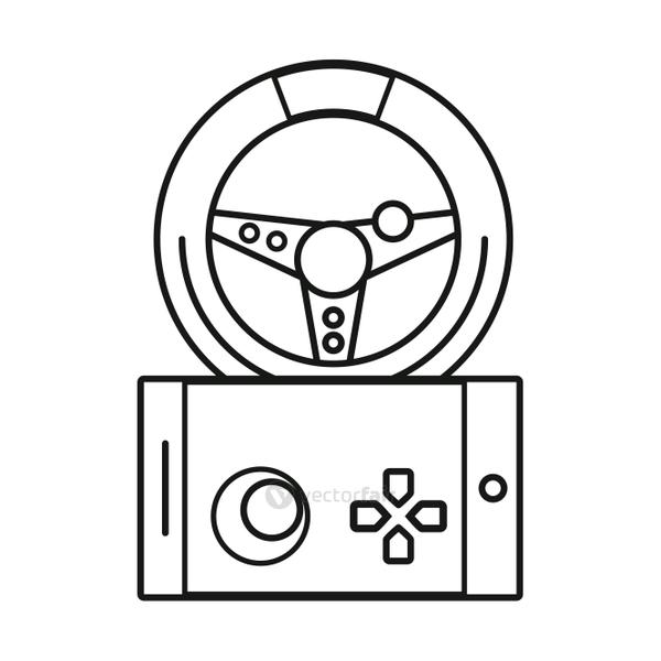 video game control handle with car wheel