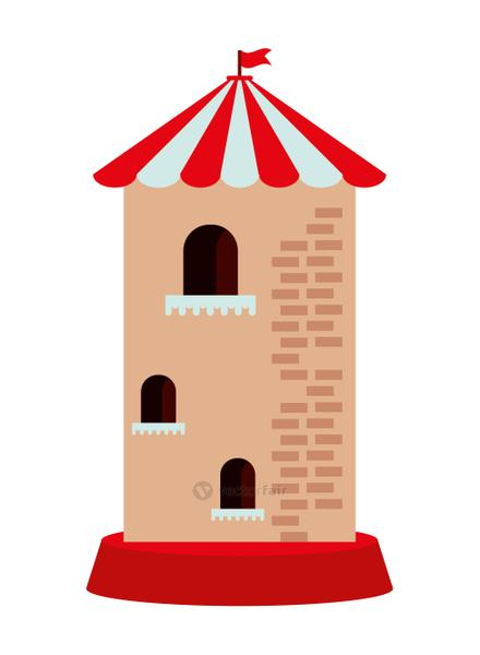 castle tower building park childish icon