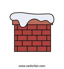 chimney with snow isolated icon