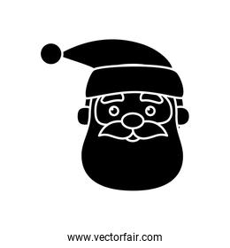 silhouette of head santa claus character of merry christmas