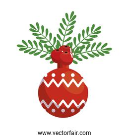 ball christmas decoration with leafs and seeds