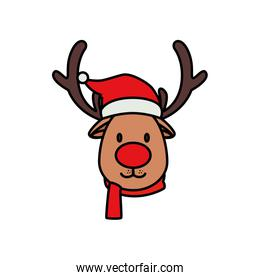 face of reindeer animal character merry christmas