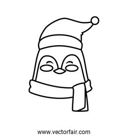 head of penguin character merry christmas line style