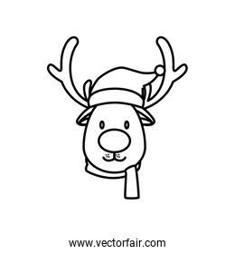 face of reindeer merry christmas line style icon