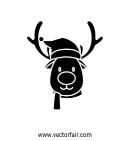 silhouette of face reindeer character merry christmas