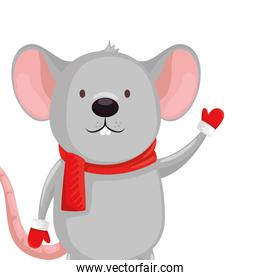 merry christmas cute mouse character