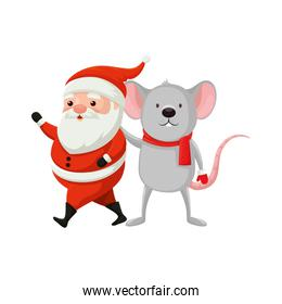 santa claus with mouse characters merry christmas
