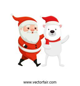 santa claus with bear characters merry christmas