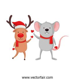 reindeer with mouse animals of merry christmas