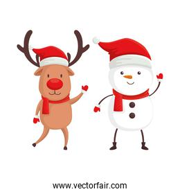 reindeer with snowman characters merry christmas