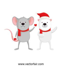 cute bear with mouse characters merry christmas