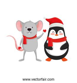 mouse with penguin characters of merry christmas