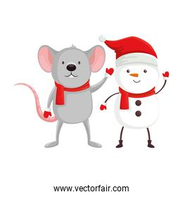 mouse with snowman character of merry christmas