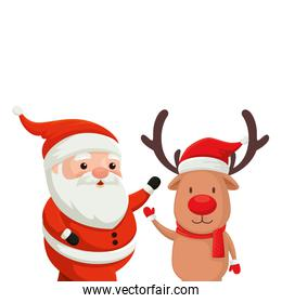reindeer with santa claus characters merry christmas