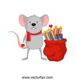 mouse and bag with gifts of merry christmas