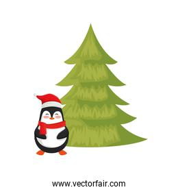 penguin with pine tree of merry christmas
