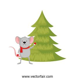 mouse with pine tree of merry christmas
