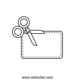 scissor utensil with paper line style icon