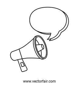megaphone with speech bubble line style icon