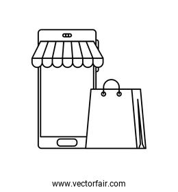 smartphone with parasol and bag shopping line style icon