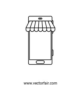 smartphone with parasol store line style icon