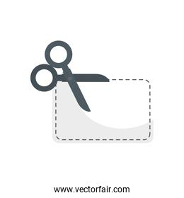 scissor utensil with paper isolated icon