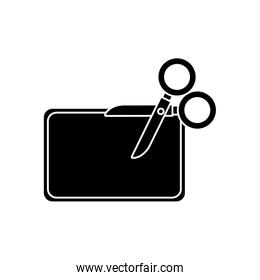 silhouette of scissor with paper isolated icon