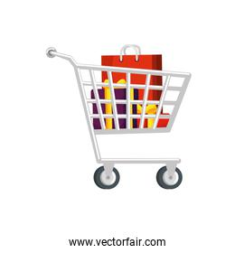 cart shopping with gift boxes and bag shopping