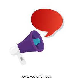 speech bubble with megaphone isolated icon