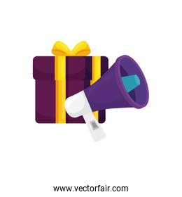 megaphone with gift box isolated icon