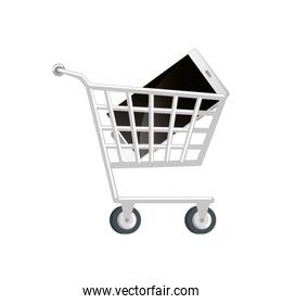 cart shopping with smartphone isolated icon