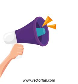 hand with megaphone isolated icon