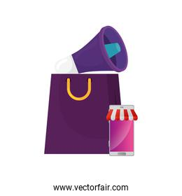 megaphone with smartphone and bag shopping isolated icon
