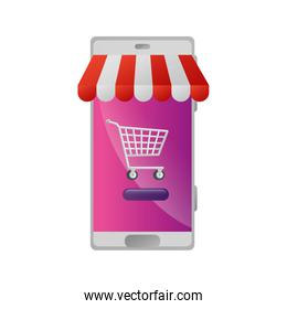 smartphone with parasol and cart shopping
