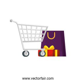 cart shopping with set icons