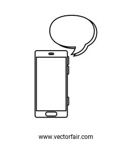 smartphone with speech bubble line style icon