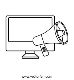 computer with megaphone line style icon