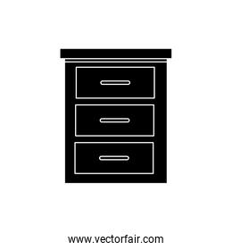 silhouette of wooden drawer furniture isolated icon