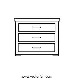 wooden drawer furniture line style icon