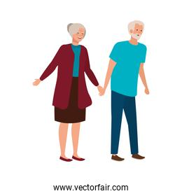 old couple elegant avatar character
