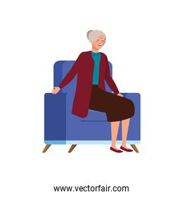 old woman sitting in sofa avatar character