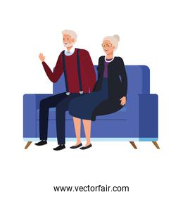 old couple seated in sofa avatar character