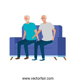 old men seated in sofa avatar character